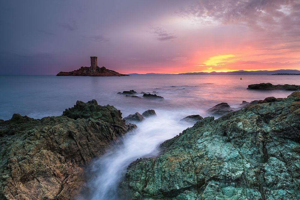 Photo in Landscape #seascape #sunset #colours #ile d'or #var #long exposure