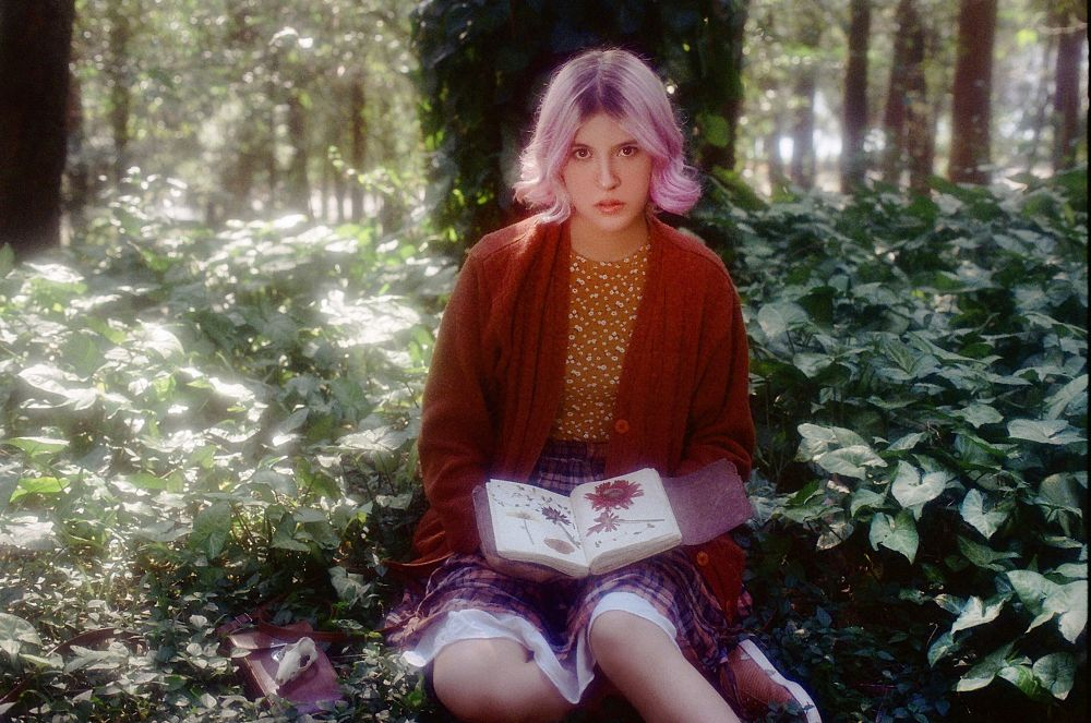 Photo in Film #portrait #girl #forest #journal #pink hair #forest girl #dried flowers #35mm #film