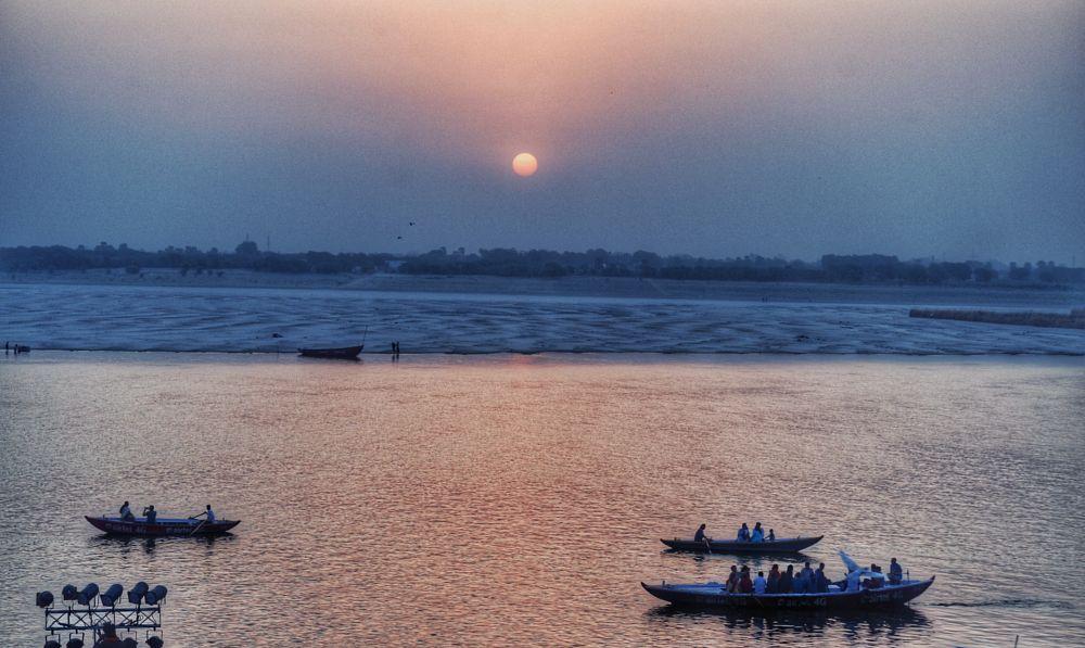 Photo in Landscape #sunrise #varanasi #india #wanderingresearcher #traveling #river #ganges