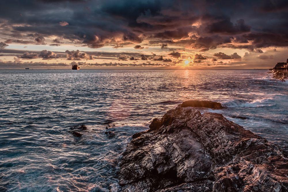 Photo in Random #sunset #sea #rock #color #hdr #landscape #genoa #italy
