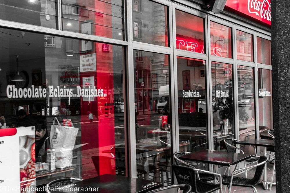 Photo in Travel #london #cafe #restaurant #london eye #food #travel #waterloo #shadow #reflection #selected colour #red #selective colour #black #bold #detail