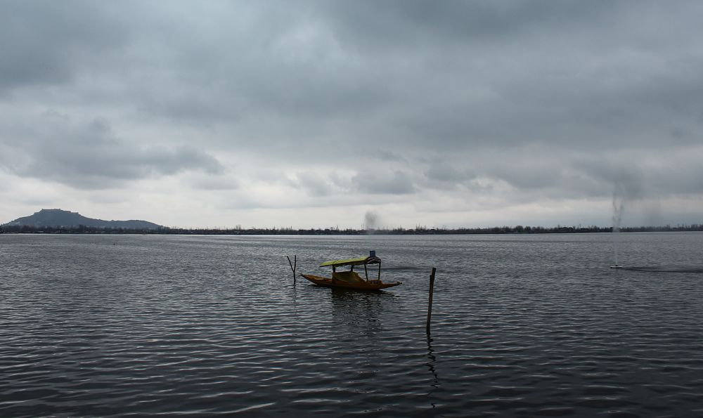 Photo in Landscape #kashmir #india #dal #lake #shikara #canon #youpic #mountains #rainyday #cloudy