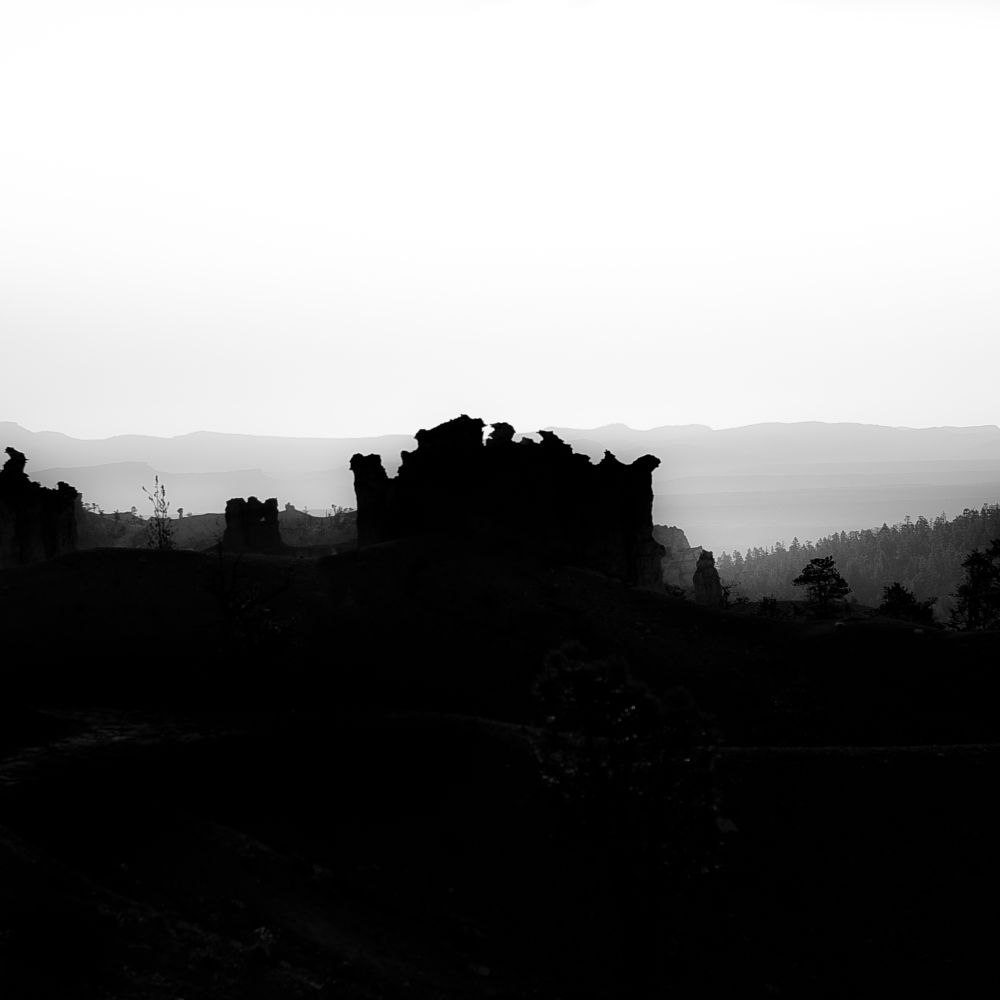 Photo in Landscape #bryce canyon #landscape #black and white #minimal #mountains #hills #canyons #horizon #quiet #sky