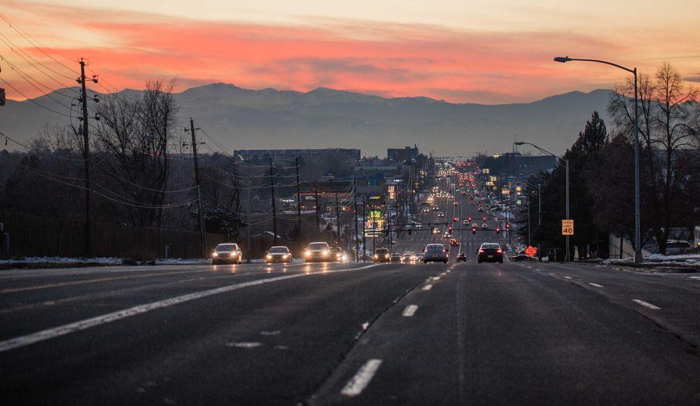 Photo in Cityscape #denver #sunset #colorado #mustafa elattrib #مصطفى الاترب #سيارات #طريق #جبل #شفق