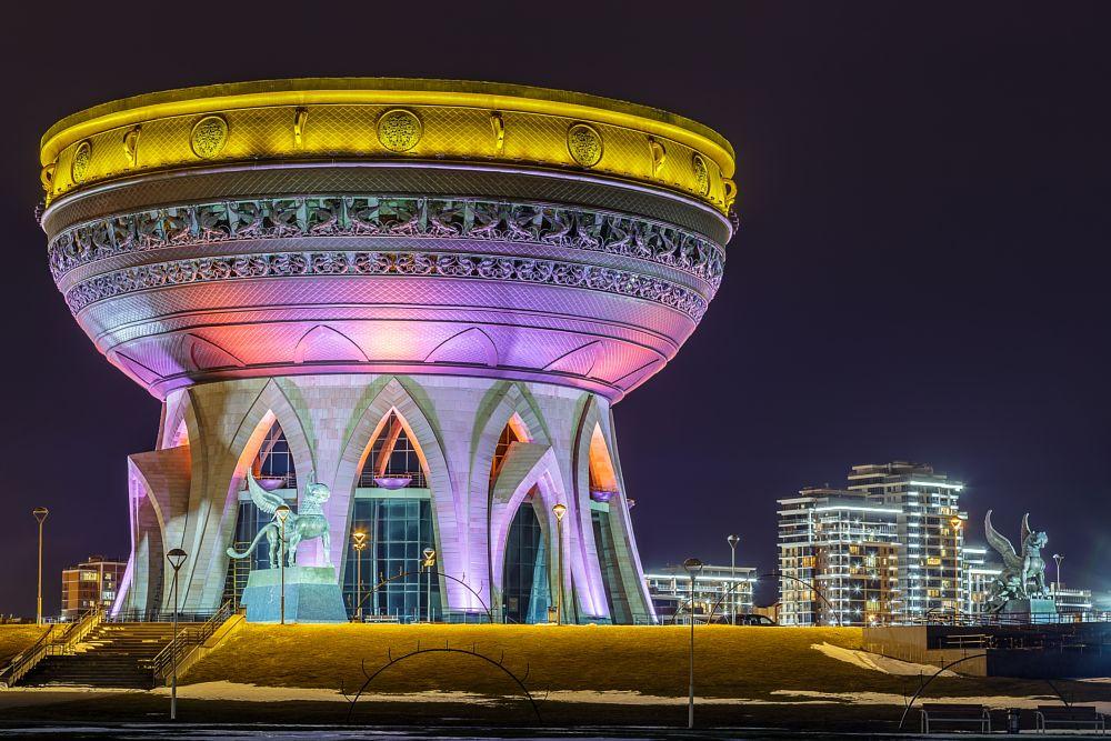 Photo in Architecture #architecture #cauldron #center #evening #family #illumination #kazan #modern #statue #symbol
