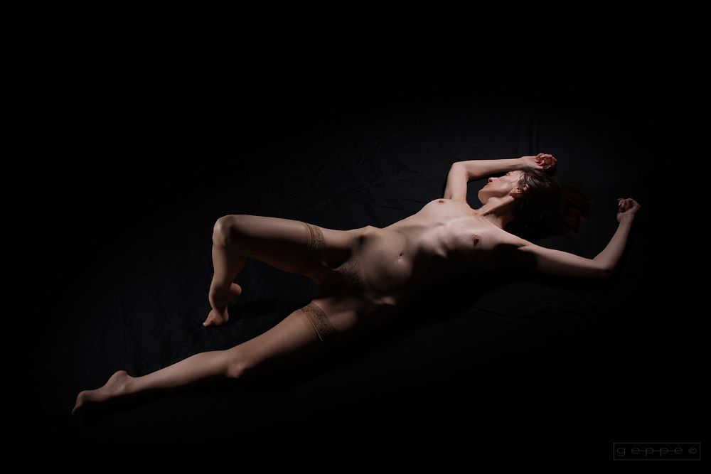 Photo in Nude #woman #sexy #sensual #erotic #charm #beauty #nude #stockings #nylon #boobs #legs #barefoot #studio #indoor
