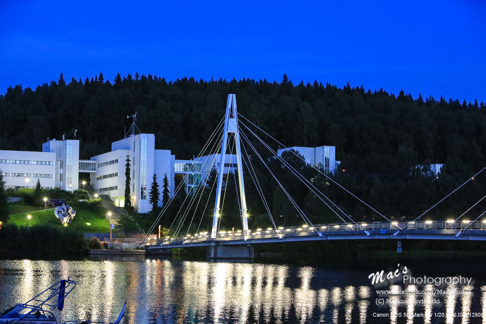 Photo in Random #bridge #night #reflection #buildings #sky #water #lake #light #canon #eos 5d #mark iii #canon eos 5d mark iii #finland #macsphotography #hovikoski