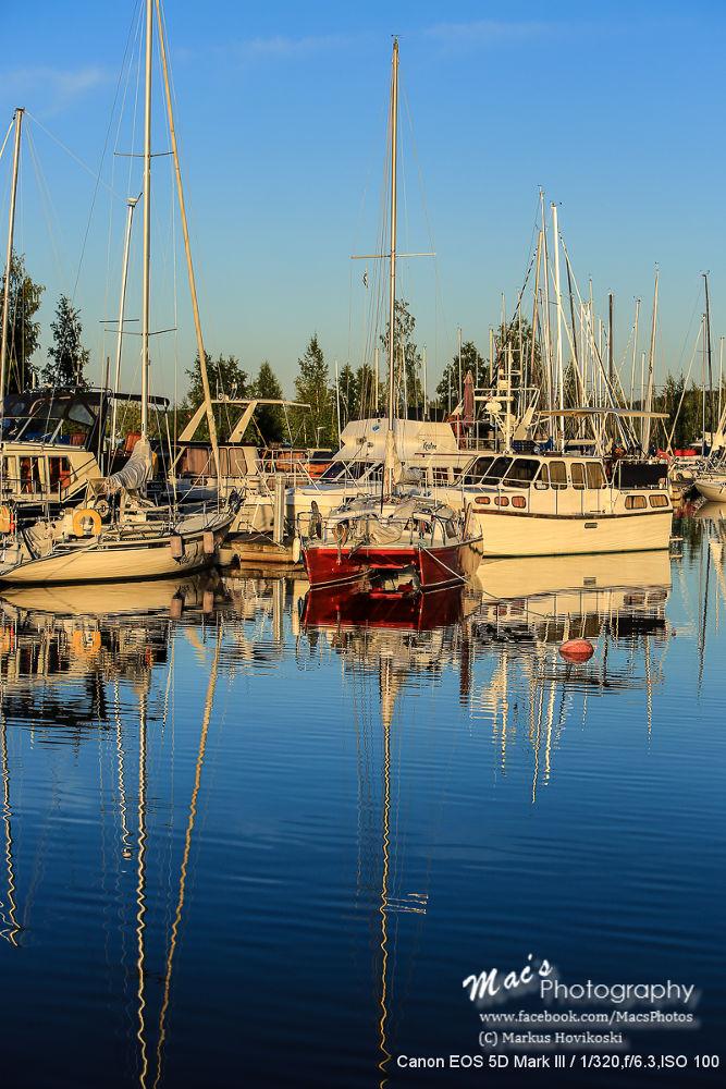 Photo in Landscape #boats #harbor #sunset #lake #water #reflection #sky #canon #eos 5d #mark iii #canon eos 5d mark iii #macsphotography #finland #hovikoski