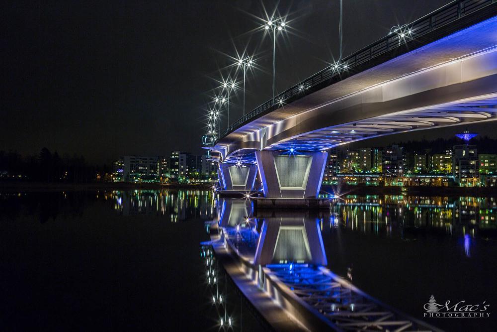 Photo in Landscape #bridge #canon #canoneos5dmarkiii #city #cityscape #eos5d #finland #lake #landscape #lights #longexposure #macsphotography #markiii #nature #night #reflection #water #winter