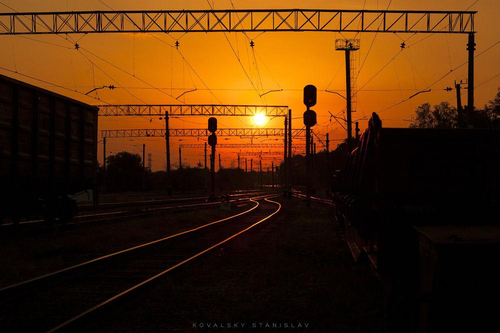 Photo in Landscape #summer #train #landscape #sunset #terminal