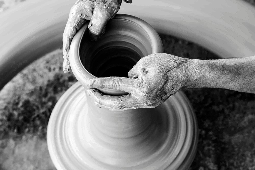 Photo in Black and White #black and white #potter #pottery #clay #traditional #people #places #village #india