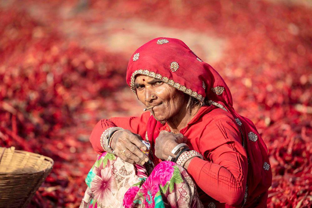 Photo in Portrait #portrait #people #woman #village #places #travel #farm #rajasthan #culture