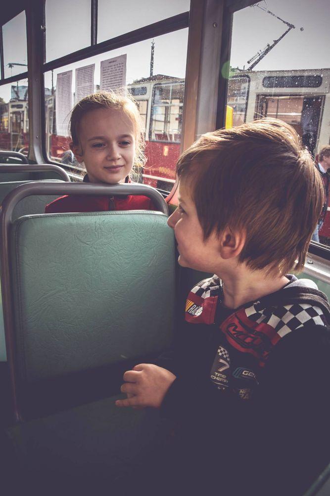 Photo in People #children #public transport day #tram #street
