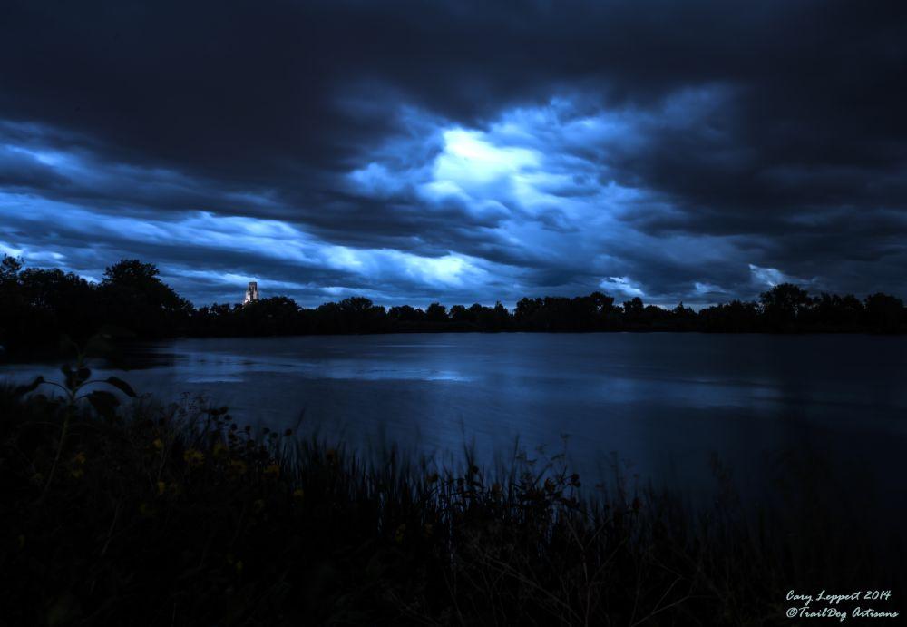 Photo in Landscape #storm #crown #hill #lake #arvada #colorado #blue #mosoleum #olinger #cemetery #rain