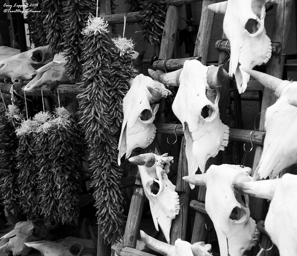 Photo in Still Life #ristra #skull #cattle #horns #ladder #chile #peppert #new mexico #santa fe #hang #cary #leppert #traildog #artisans