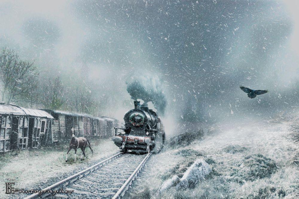 Photo in Random #photoshop #photomanipulation #snow #train