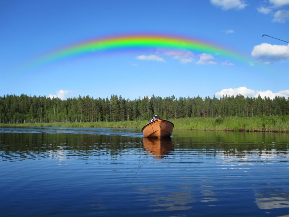 Photo in Nature #summer #nature #boat #lake #sweden #forest #wood #water #rainbow #fisherman #sky #wild