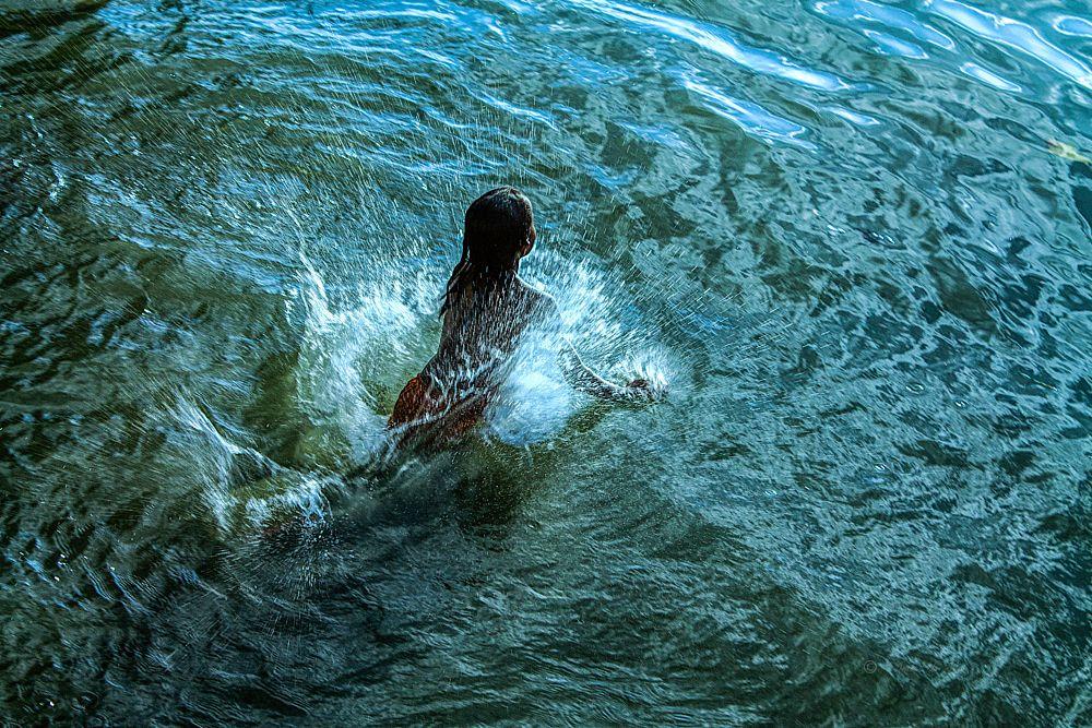 Photo in Rural #outdoor #river #water #girl #splash #color