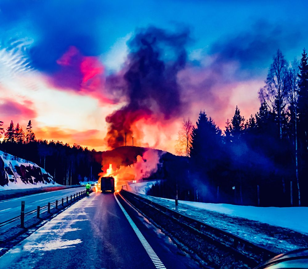 Photo in Journalism #burned #burning #fire #winther #highway #nature #landscape #cityscape #journalistic #upnorth #icyroad #streetphotography #road #street #engphoto #news #newsgathering