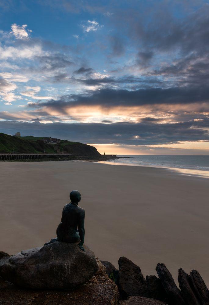 Photo in Sea and Sand #sunrise #sunny sands #folkestone #statue #beach #sand