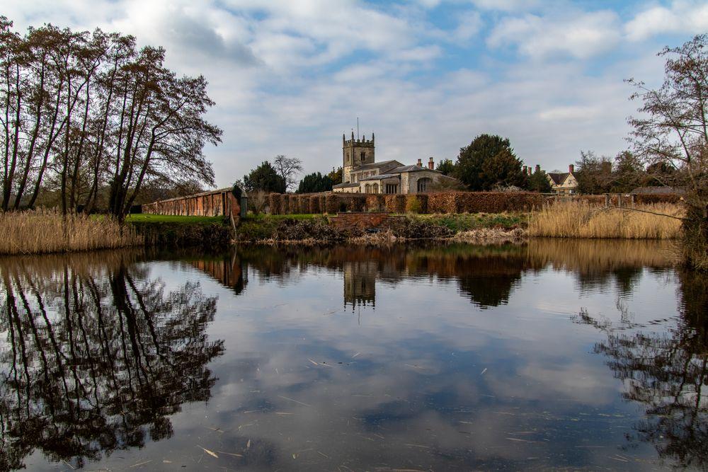 Photo in Landscape #church #uk #reflection #landscape #canon #architecture #national trust #spring #sky #lake