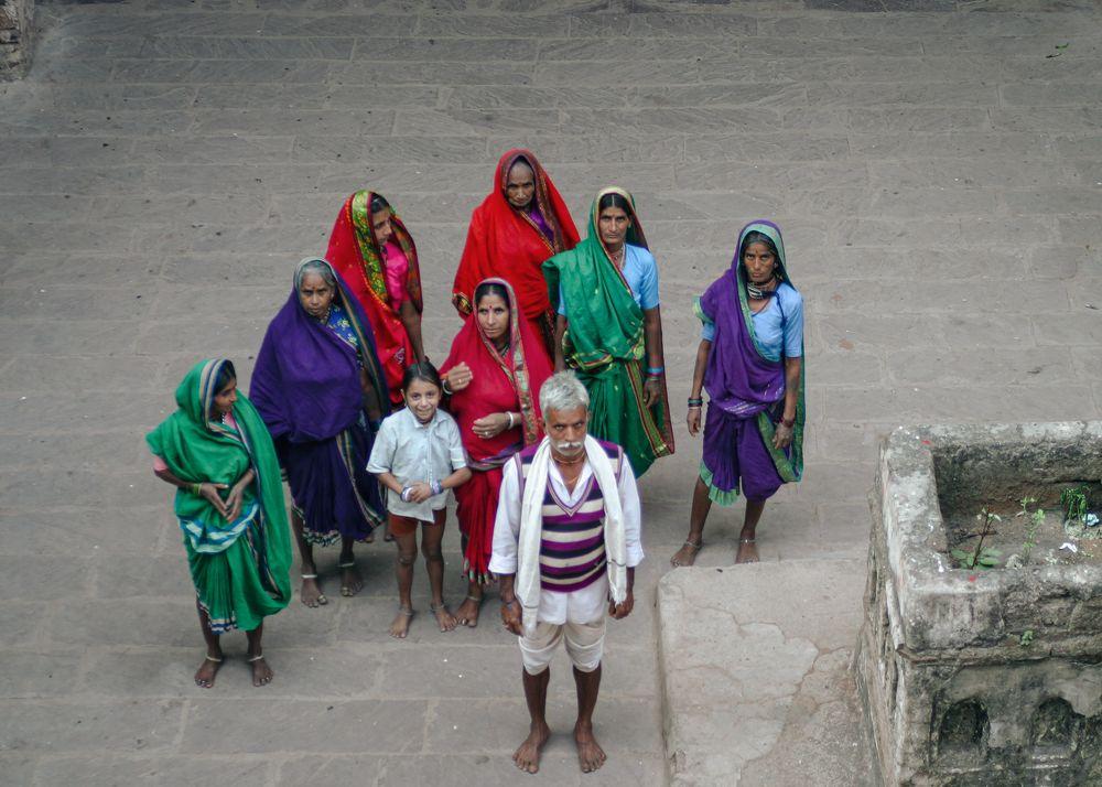 Photo in People #india #madhya pradesh #orchha #south asia #portrait #people #candid #group #man #woman #child #pilgrim #travel #sari #colour