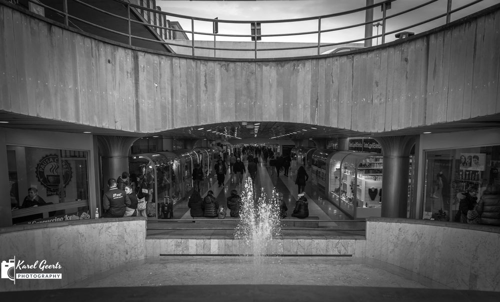 Photo in Black and White #fountain #shopping #shoppingcentre