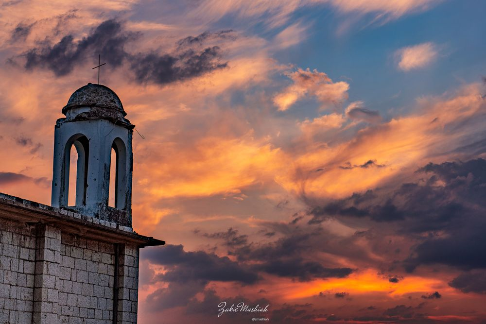Photo in Landscape #sunset #colors #church #tower #cross