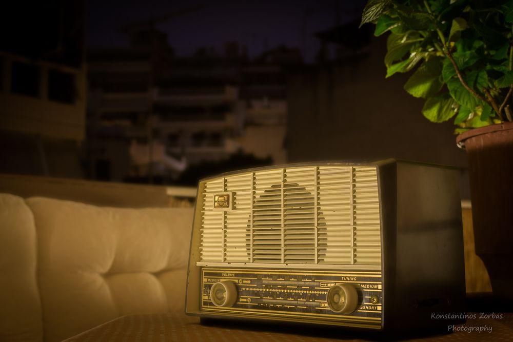 Photo in Random #night #balcony #old #old radio #mullard #music #medium wave #short wave #greece #flower pot #nikon d7100 #midnight