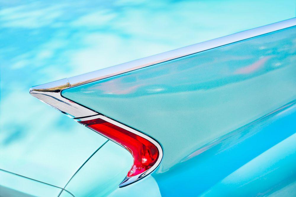 Photo in Vehicle #62 cadillac fin #cadillac #tail fin #fin #car #classic car #vintage #vintage car #car show #blue #tail light #chrome #retro #classic