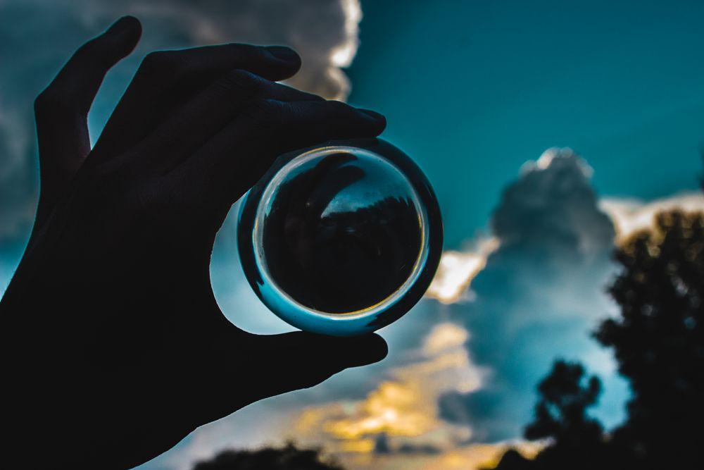 Photo in Random #sky #sunset #ball #glass ball #ball photography #glasa ball photography #photography #photographer #cloud #clouds
