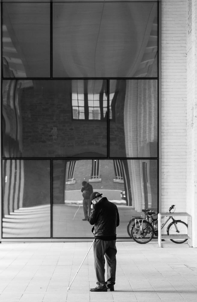 Photo in Street Photography #old #man #reflection #street #black #white