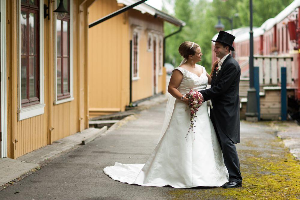 Photo in Wedding #weddings #bride #groom #white dress #hat #train #canon