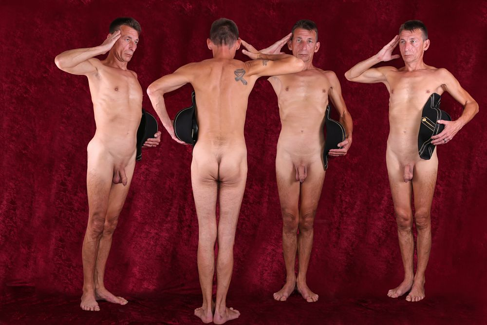 Photo in Nude #nude #naked #nudity #man #act #fun #military #salute