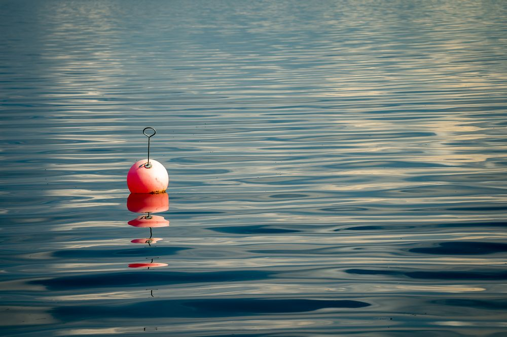 Photo in Random #mirrors #waves #buoy #water #light #outdoor #sea #red #blue