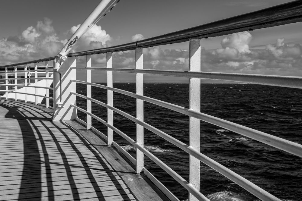 Photo in Black and White #sea #ship #reeling #sky #structure