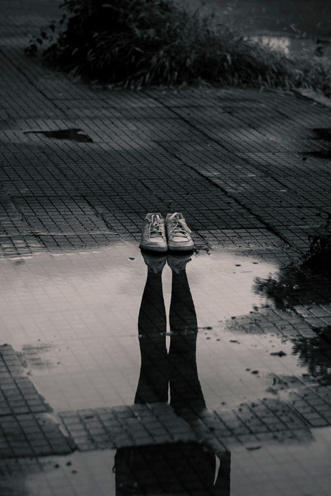 Photo in Random #creepy #reflection #legs #shoes #rain #blackandwhite