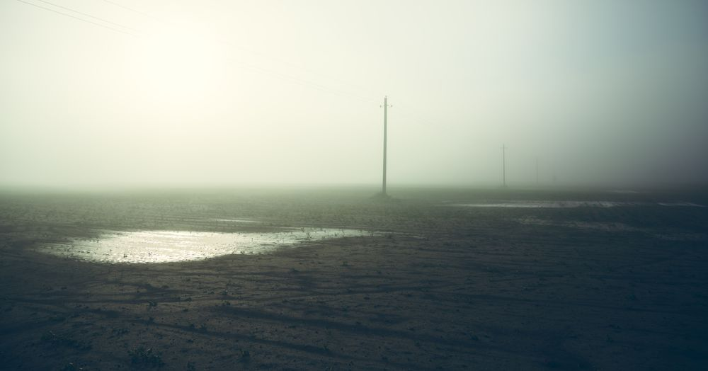 Photo in Rural #field #soil #fog #pools #poles