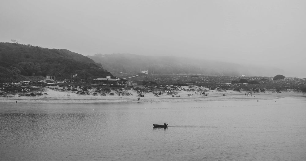 Photo in Black and White #coast #portugal #boat #black&white #foggy
