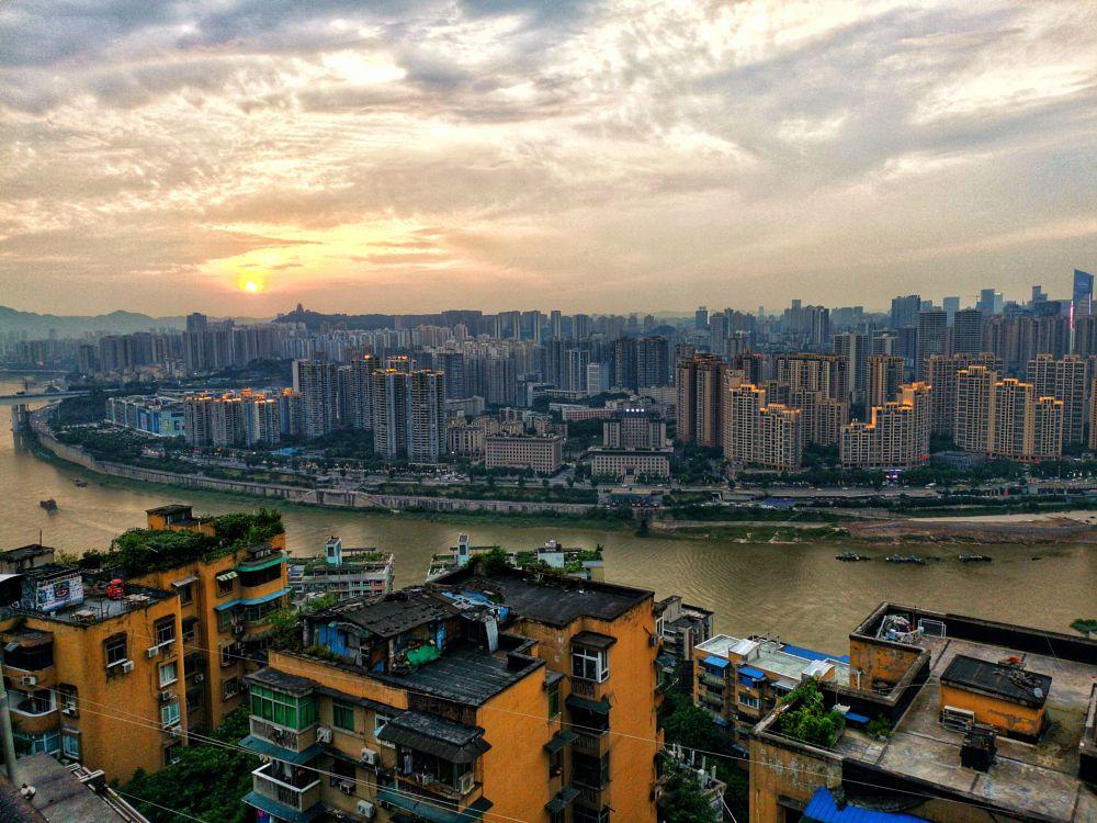 Photo in Cityscape #jalin #sunset #sun #china #chongqing #sichuan