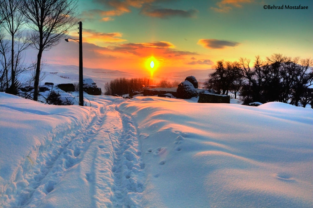 Photo in Landscape #snow #sunset #iran #behrad #mostafaee