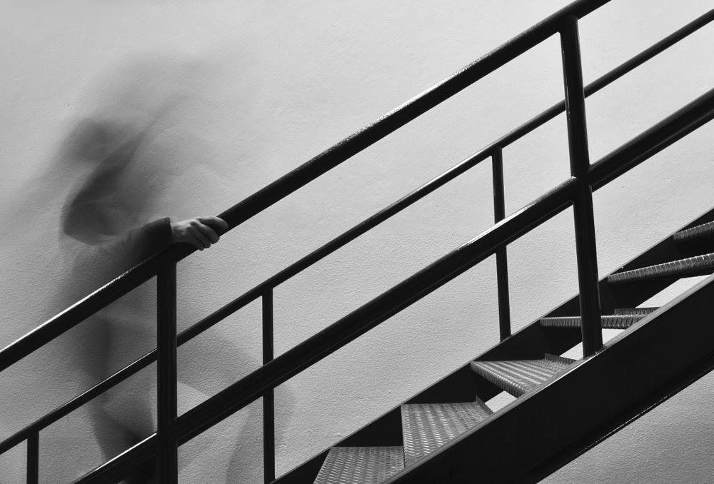 Photo in Black and White #absence #void #stairs #dark #solitude