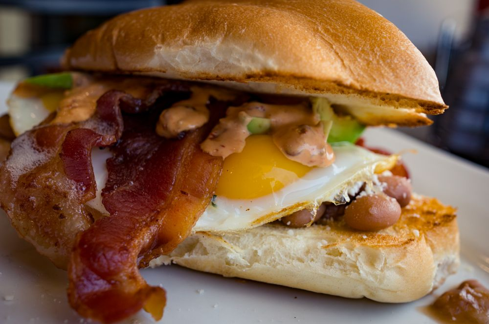 Photo in Food #food #bacon #yolk #torta #breakfast #beans #brunch #hungry