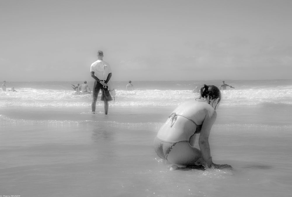 Photo in Random #bath #sea #ocean #woman #man #b&w #black & white #sun #light #low key