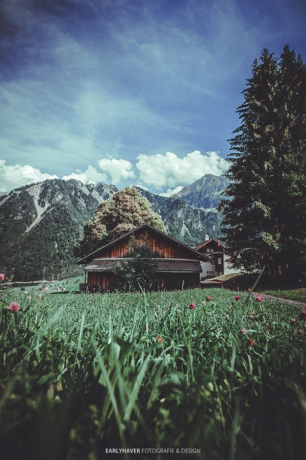Photo in Landscape #alpes #alps #swiss #europe #travel #visit #switzerland #mountains #blue sky #sky #high above #feeling free #feel free #flying away #fly away #darkness #gothic #hut #bavaria #germany #tress #eco #green #dark #earlyhaver