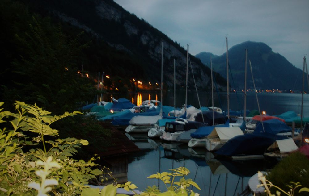 Photo in Landscape #twilight #harbour #switserland #reflection #lights #boats #mountain