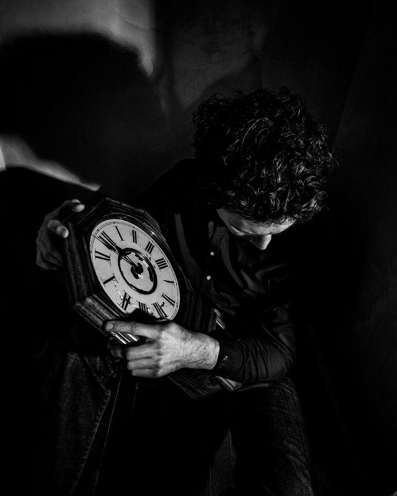 Photo in People #clock #man #portrait #self portrait #me #selfie #time #introspective #moody
