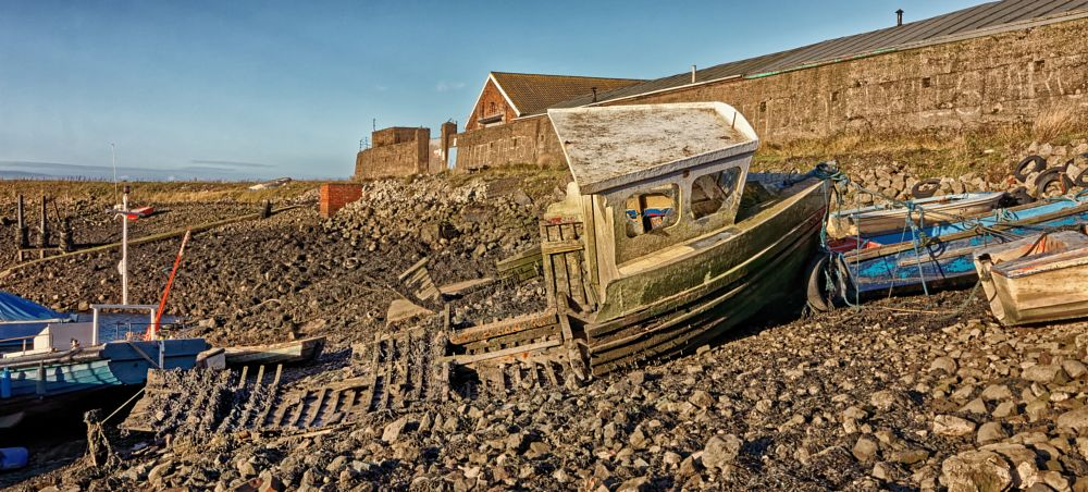 Photo in Landscape #south gare #middlebrough #paddy's hole #yorkshire #fishing #boat #low tide #abandoned #wreck #industry #beached