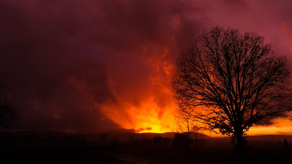 Photo in Landscape #sunset #rain #cold #winter #shades #sky #immensity #clouds #fire