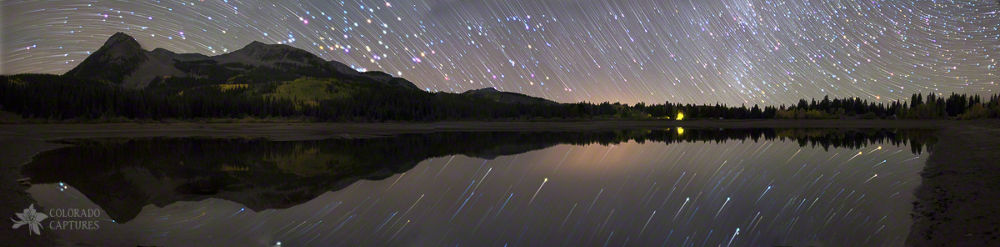 Photo in Random #lake #reflection #night #colorado #mountains #stars #long exposure #star trails #lost lake #lost lake slough #kebler pass #crested butte #rotation #curvature #light pollution #beckwith #east beckwith #west beckwith